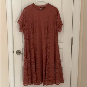 Dusty pink lace-overlay dress - NWT